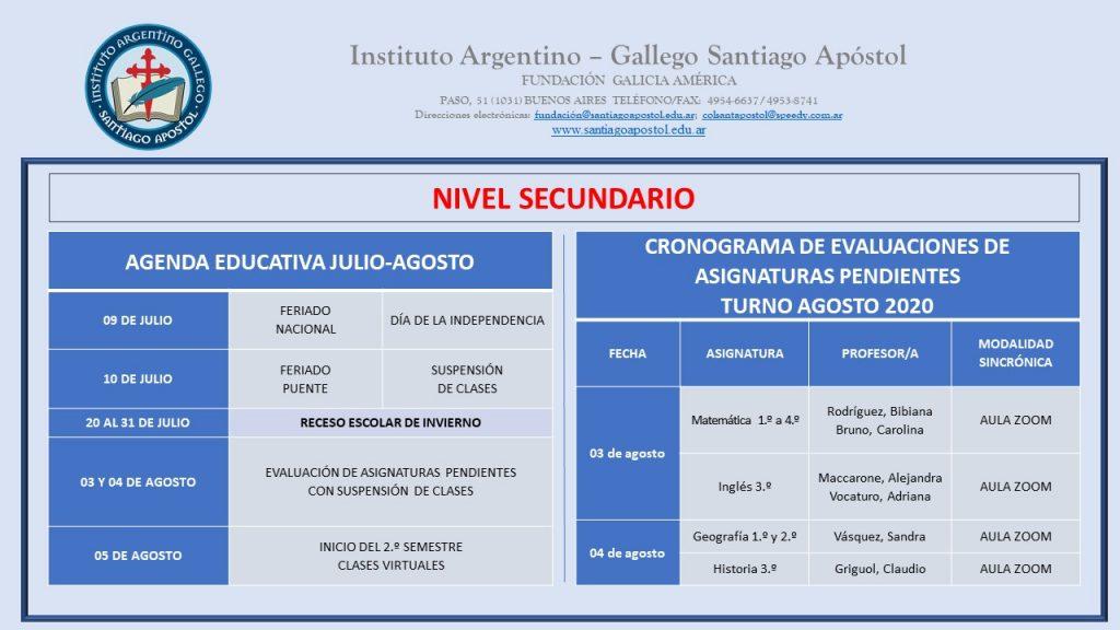 Nivel Secundario: calendario académico 2020